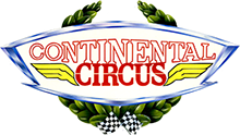 Continental Circus original logo artwork is based upon a car badge, laurel wreath and chequered flags.