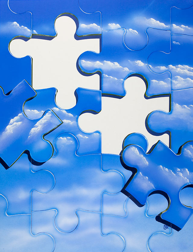 The sunny, blue sky is comprised of jigsaw puzzle pieces being arranged to fit. The empty slots are left for type to be overlaid.