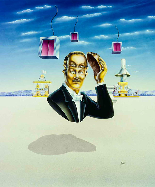 The artwork features a man removing the top of his head to reveal an alternative personality.