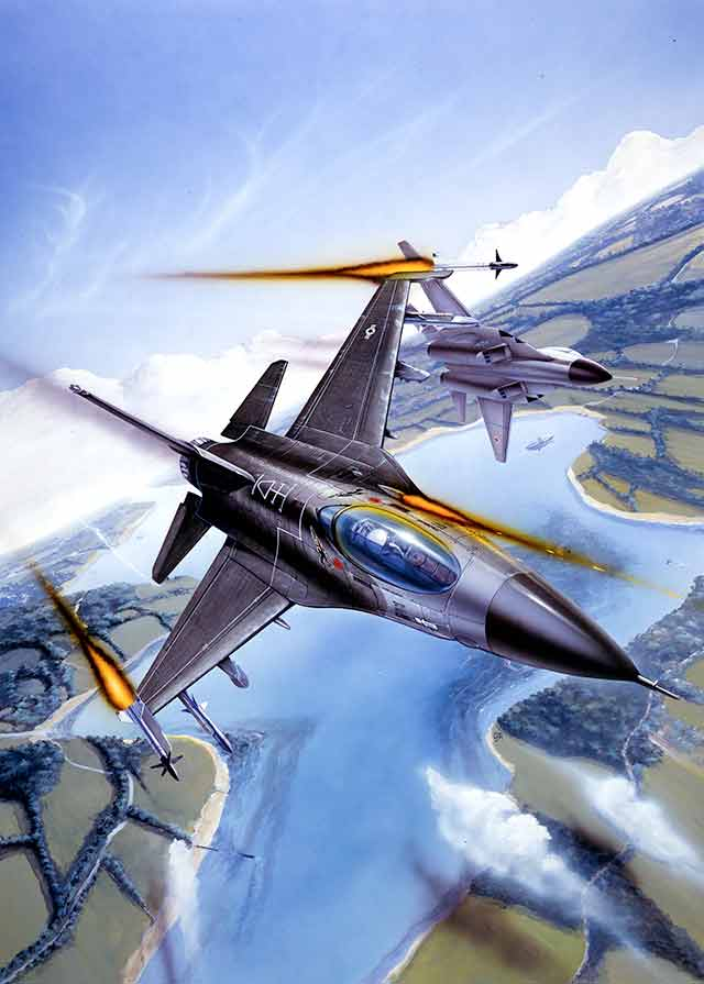 The Skychase artwork features Russian ans American planes in close combat