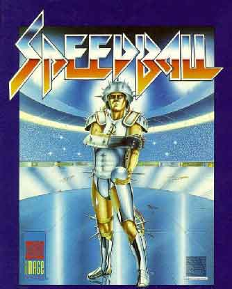 The Speedball box cover featuring the illustration and logos for the title, publisher and developer.