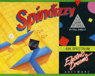 The C64 cassette inlay for Spindizzy including logo and illustration.