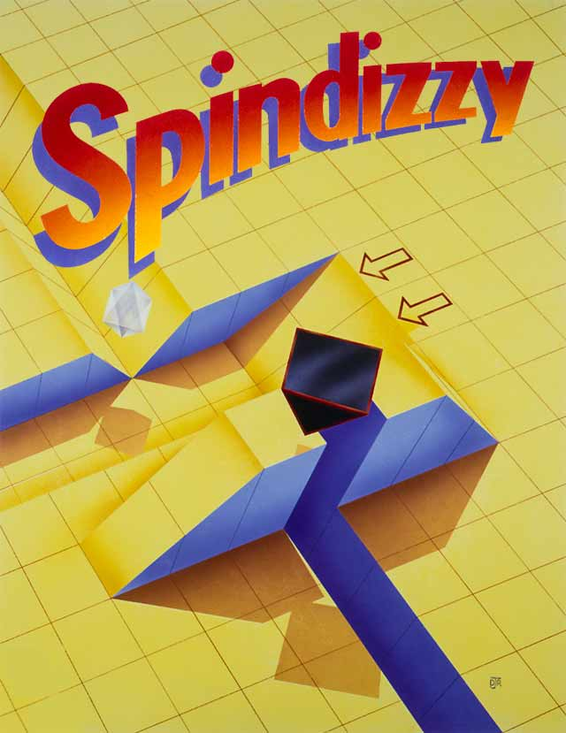 The Spindizzy artwork features a fairly abstract perspective yellow gid platform with ledges and gulleys.